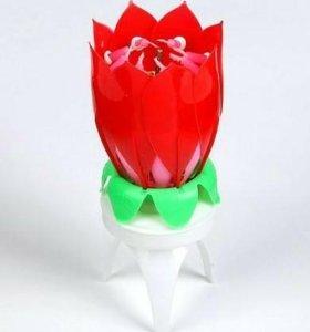 Свеча-цветок д/торта, вращается музыкальная 14х5см