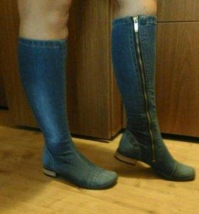 Сапоги джинсовые новые