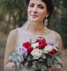 Свадебные украшения серьги + гребень