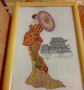 Картина бисером Дама с зонтиком