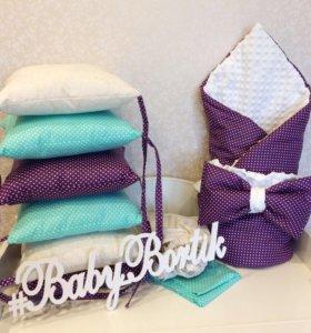 Комплект в кроватку + одеяло на выписку