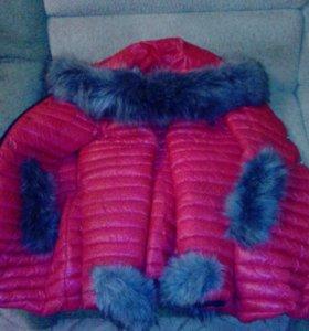 Пуховик красный,зима