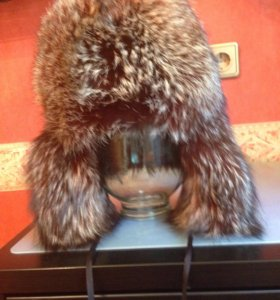Шапка -ушанка из чернобурки женская