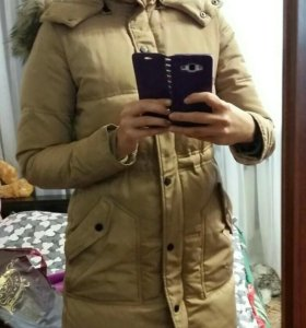 Пуховик  куртка зимний бежевый перо натуральное