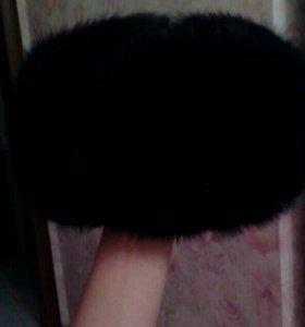 Шапка-ушанка андатровая черная(крашеная)новая