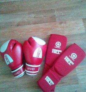 Боксёрские перчатки , защита голении стапы