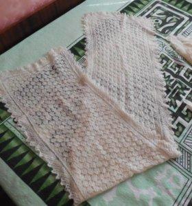 Пуховый палантин-шарф кружевной