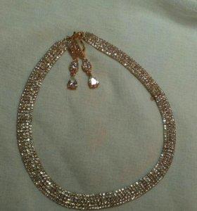 Свадебное украшение, колье и серьги под золото