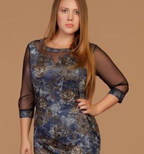Платье из мягкого трикотажа с рукавами из сеточки