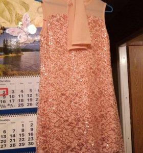 Вечернее платье для девочки с перчатками