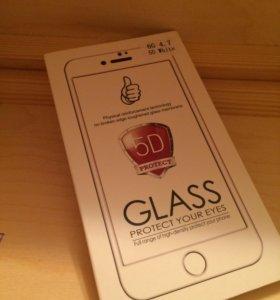 Закаленное стекло 5D на iPhone 6 белое