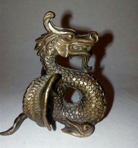Дракон бронзовый статуэтка