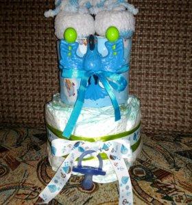 Торт из подгузеиков (памперсов)