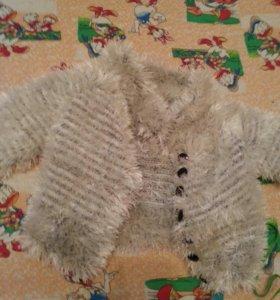 Теплая детская кофточка, шапочка,комбинезон теплый