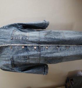 Новое джинсовое пальто 58 размер без подклада