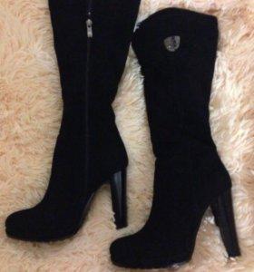 Новые нат.зимние сапоги(замша+мех), высокий каблук