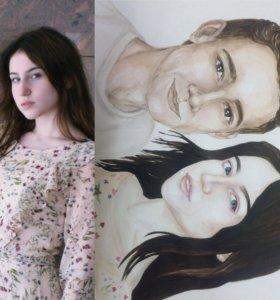 Портреты акварель любой формат