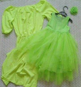 Комплект платьев мама-дочка фемилилук