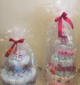 Киндер подарки , торты из подгузников