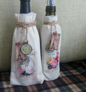 Декоративные бутылки украшенные вручную