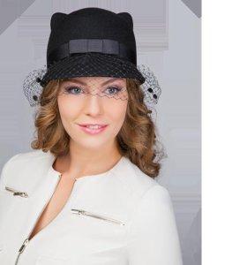 Шляпа с ушками кошка фетровая с вуалью