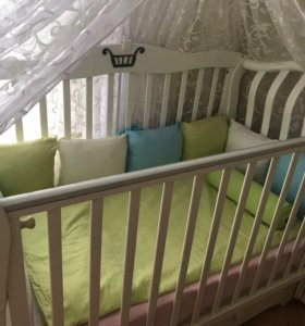 Кроватка можга Юлиан+матрас+комод+ балдахин