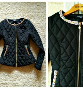 Черная стеганая демисезонная курточка