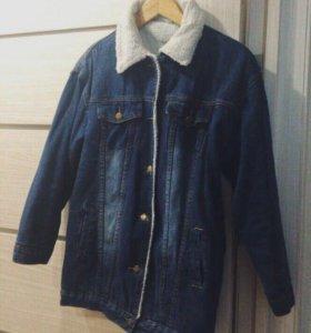 Утепленная джинсовка джинсовая куртка пальто