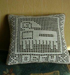 Подушки ручной работы.филейное вязание.