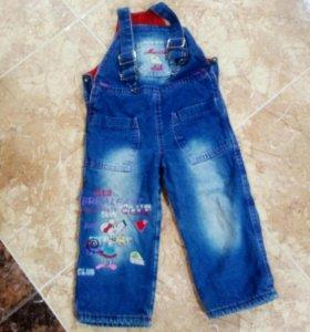 Комбинезон джинсовый утеплённый.