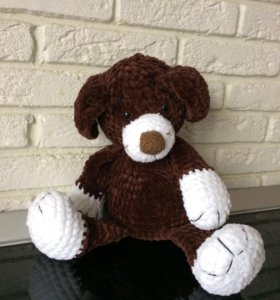 Мягкая игрушка ручной работы - собачка из плюша