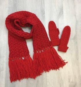 Вязанный комплект (варежки и шарф)