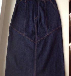 Джинсовая юбка-миди 44-46