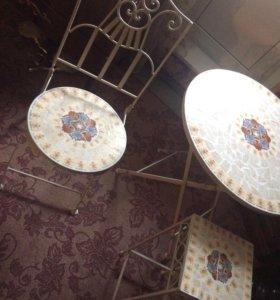 Кованый складной стол, стул и подставка
