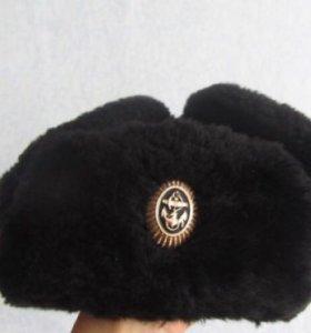 Шапка-ушанка вмф, офицерская(верх кожа)