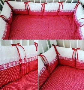 Комплект в кроватку. Бортики+простынка. В наличии