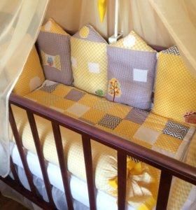 Бортики-подушки в кроватку + одеяло
