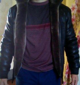 зимняя куртка коженная