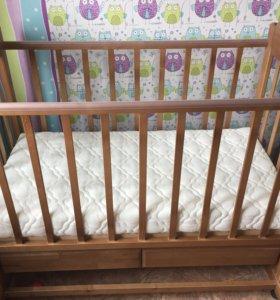 Кроватка детская+ ортопедический матрас