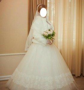 Свадебное платье,шубка,туфли