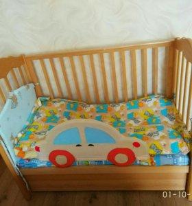 Детская кроватка-маятник+комод пеленальный