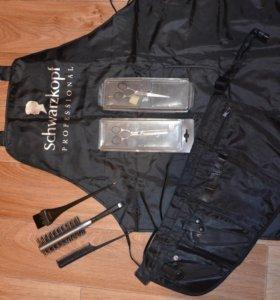 комплект ножницы,фартук,расчески для парикмахера!