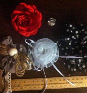 Брошь цветы из ткани