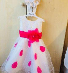 Красивое пышное платье + повязка для девочки