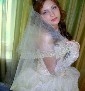 Свадебное платье ,перчатки,шубка.