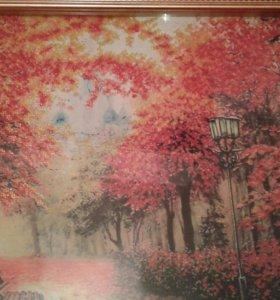 Вышивка бисером осенний пейзаж