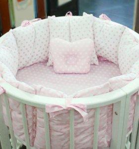 """Комплект в кроватку """"Горошек""""розовый"""