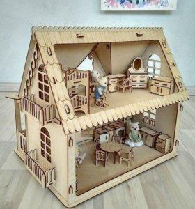 Кукольный дом из натурального дерева с мебелью
