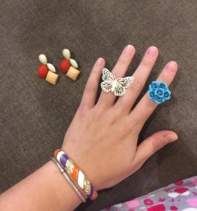 Сережки, браслет и 2 кольца