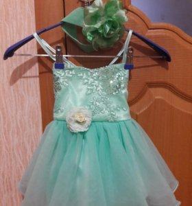 Платье на годик. Повязка с цветком в подарок